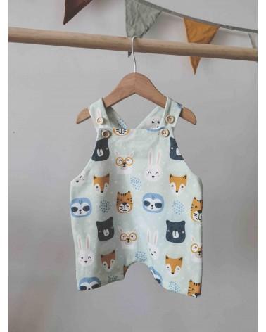 Peto corto bebé en algodón orgánico con estampado de animales