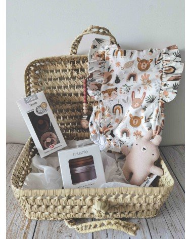 Cesta de nacimiento regalo bebé con ranita, peluche-sonajero, cubos apilables, chupetes y chupetero