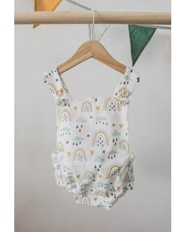 Ranita bebé algodón orgánico, estampado arcoíris