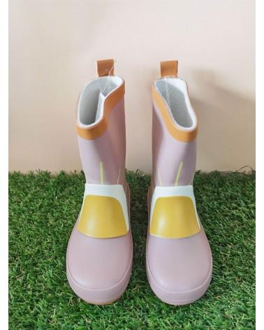 Botas de agua niña de caucho ecológico con estampado de arcoíris